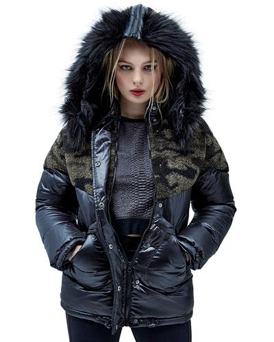 Hooded Camo-Sherpa Trim Puffer Jacket