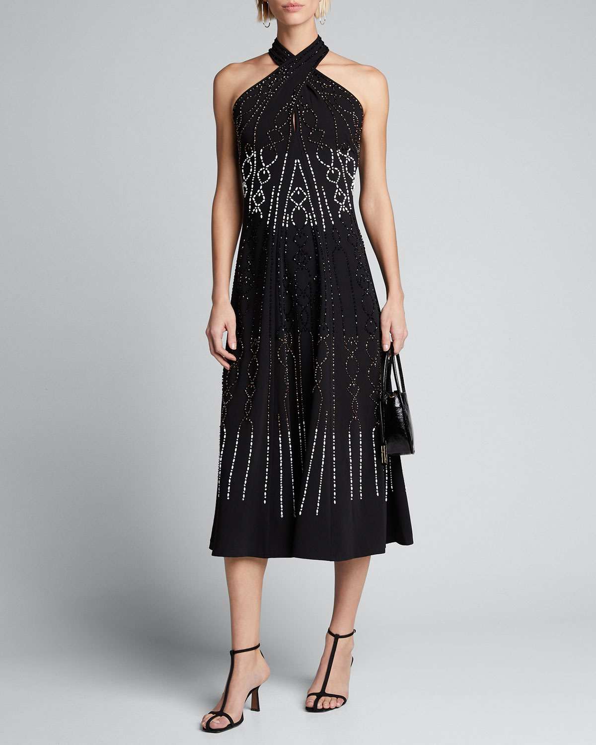 Kobi Halperin Dresses DANA BEAD EMBELLISHED MIDI HALTER DRESS