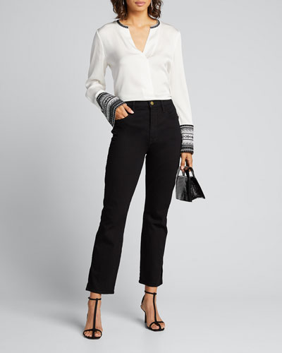 Jona V-Neck Contrast-Trim Blouse