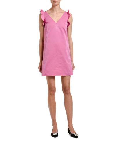 V-Neck Sleeveless Ruffle Short Dress