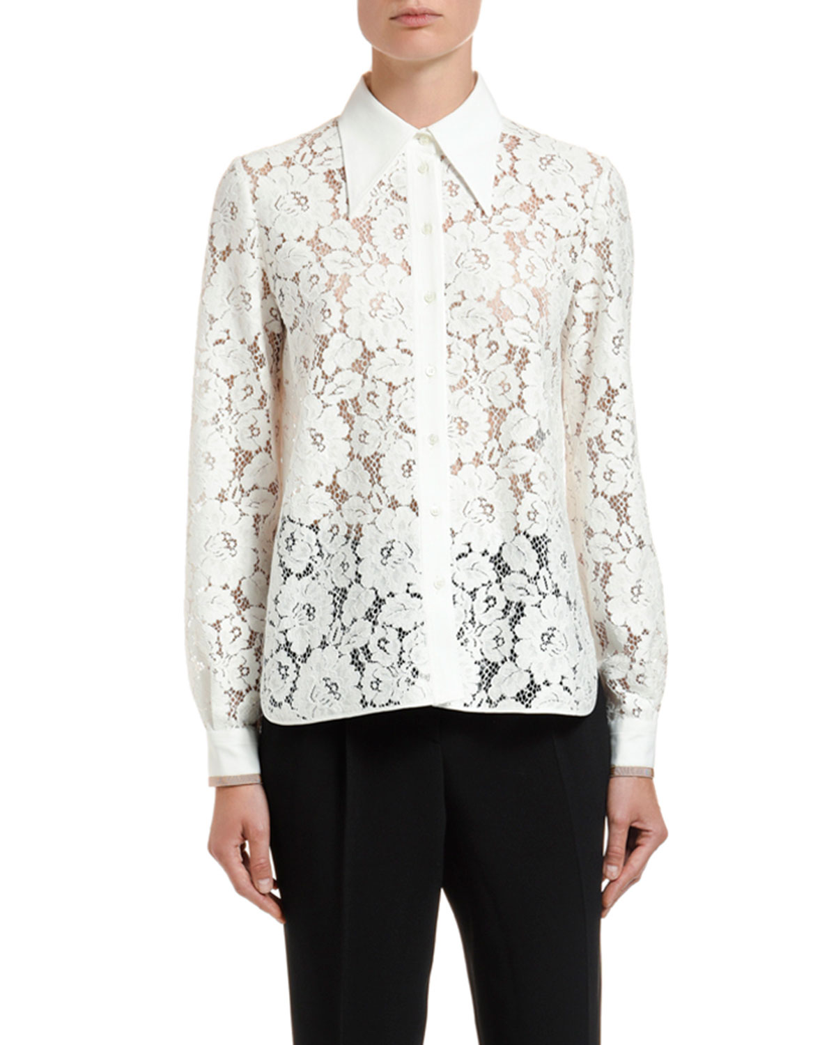 N°21 T-shirts LACE POINTED-COLLAR SHIRT