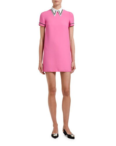 Embellished Point-Collar Tee Dress