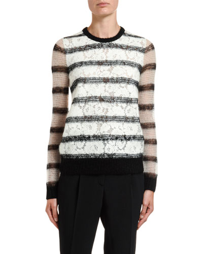 Crewneck Lace Knit Mohair Sweater