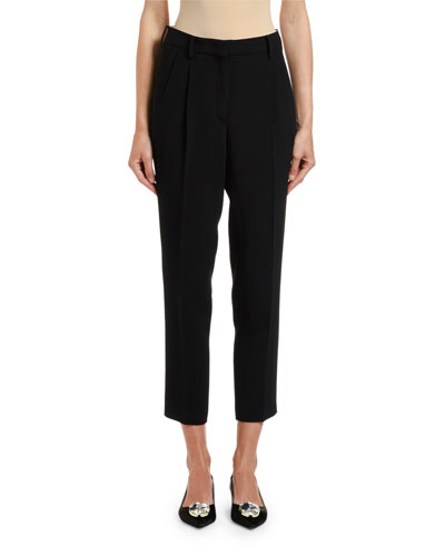 Mid-Rise Straight-Leg Ankle Pants