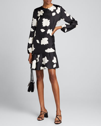 Flared Long-Sleeve Printed Dress