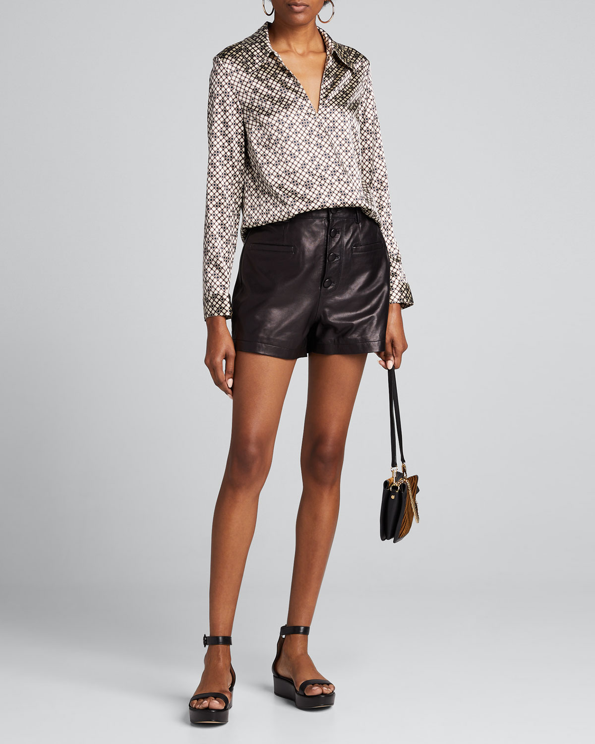 Theory Tops PRINTED WIDE-COLLAR LONG-SLEEVE TOP