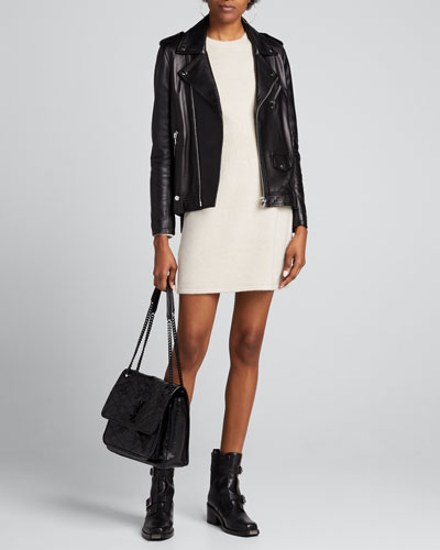 Ribbed-Waist Wool-Cashmere Sweater Dress