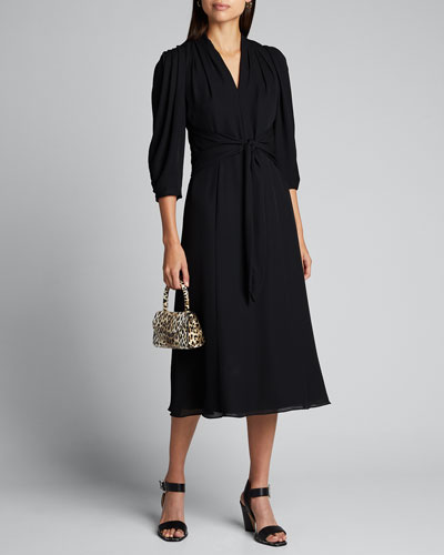 Erin V-Neck 1/2-Sleeve Silk Midi Dress