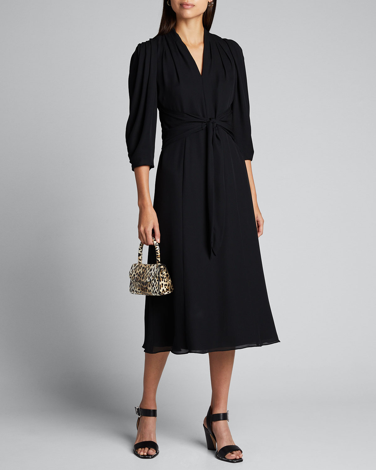 Kobi Halperin Dresses ERIN V-NECK 1/2-SLEEVE SILK MIDI DRESS