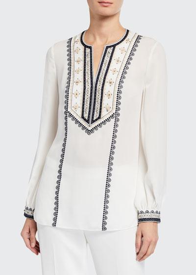 Sandi Long-Sleeve Silk Blouse