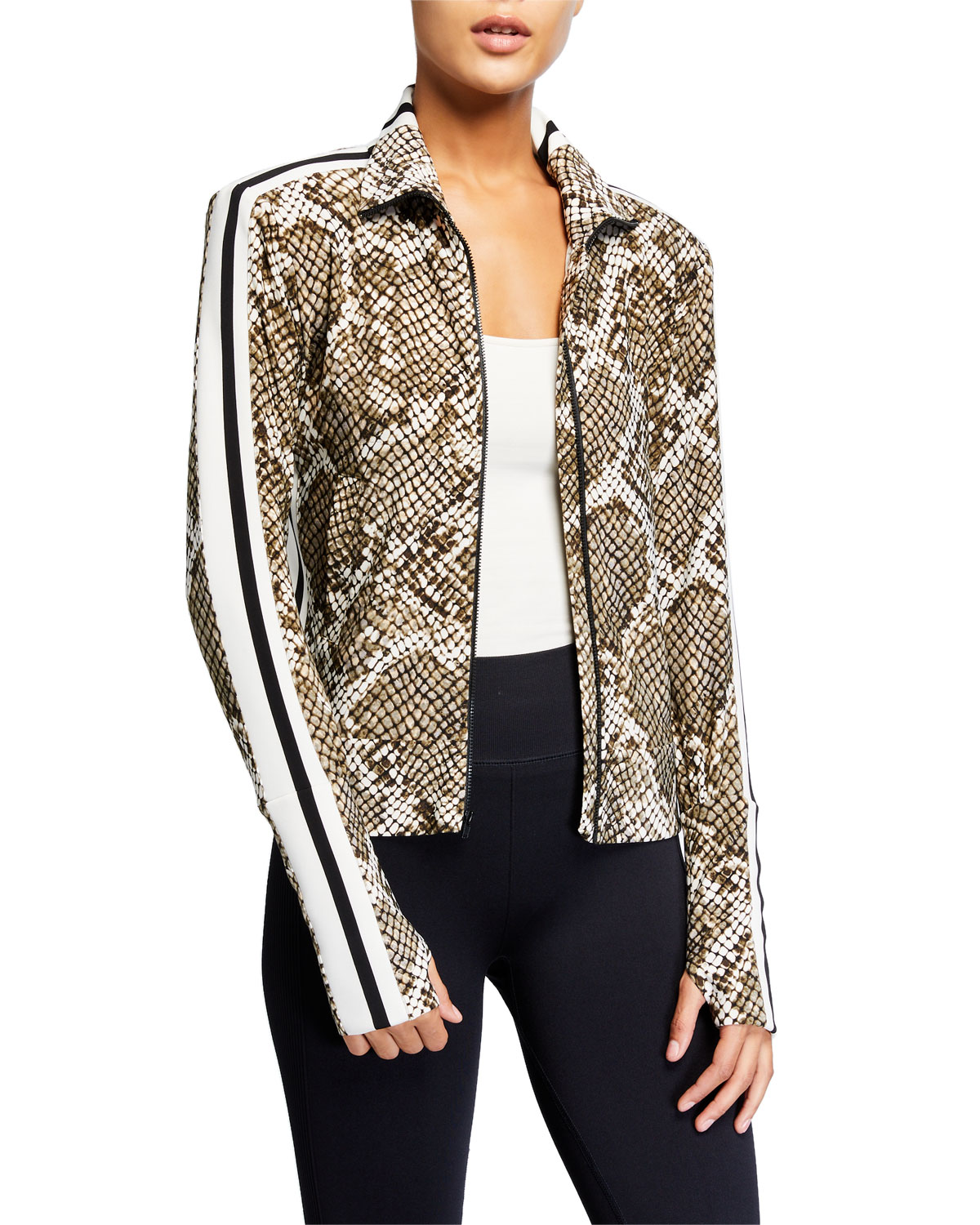 Norma Kamali Jackets PYTHON-PRINT SIDE STRIPE TURTLENECK JACKET
