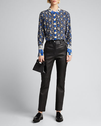 Marla Printed Button-Down Silk Blouse