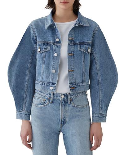 Alik Cropped Denim Jacket with Exaggerated Sleeves