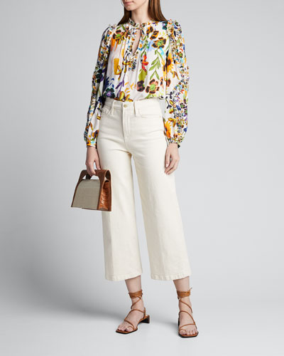 Merlyn Floral Tie-Neck Keyhole Blouse