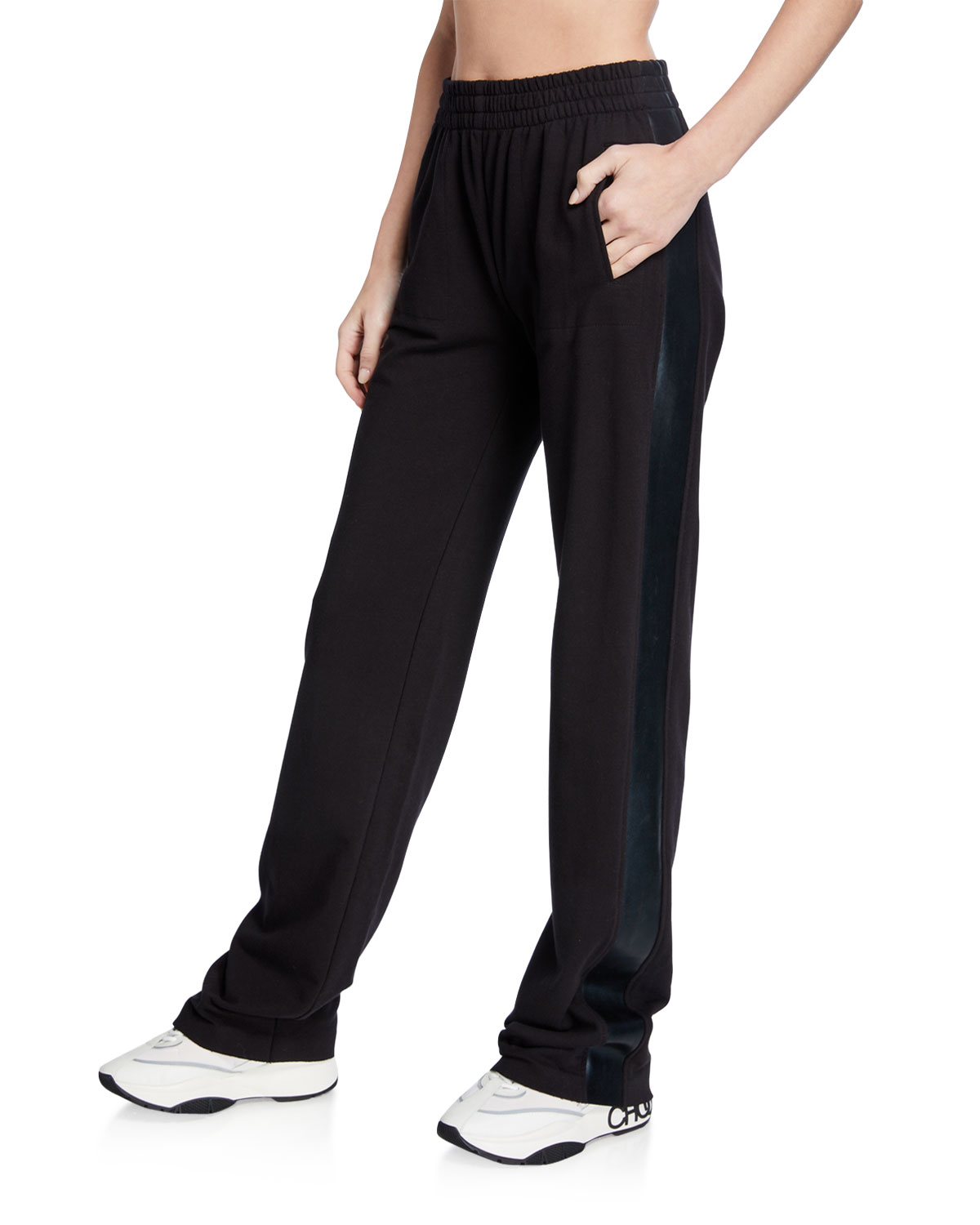 Norma Kamali Pants SIDE STRIPED BOYFRIEND SWEATPANTS