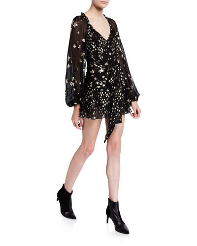 Rina Metallic Blouson-Sleeve Mini Dress