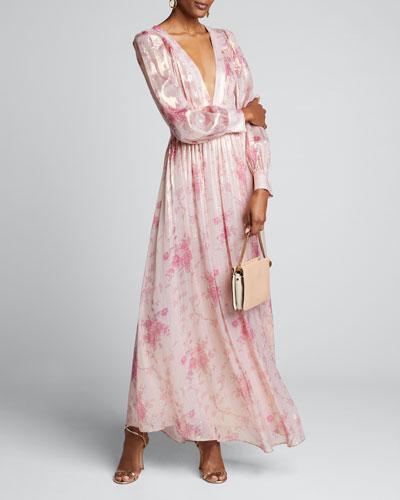 Cyrena Floral-Print Silk V-Neck Dress
