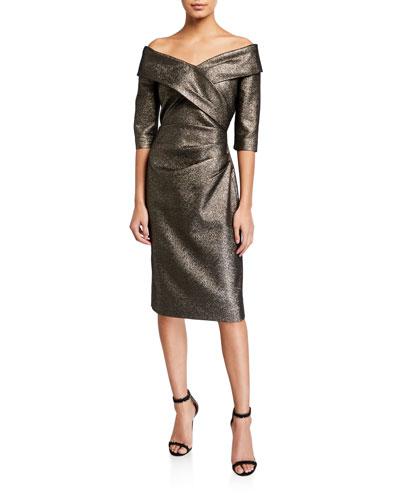 Metallic Off-the-Shoulder Portrait 1/2-Sleeve Cocktail Dress