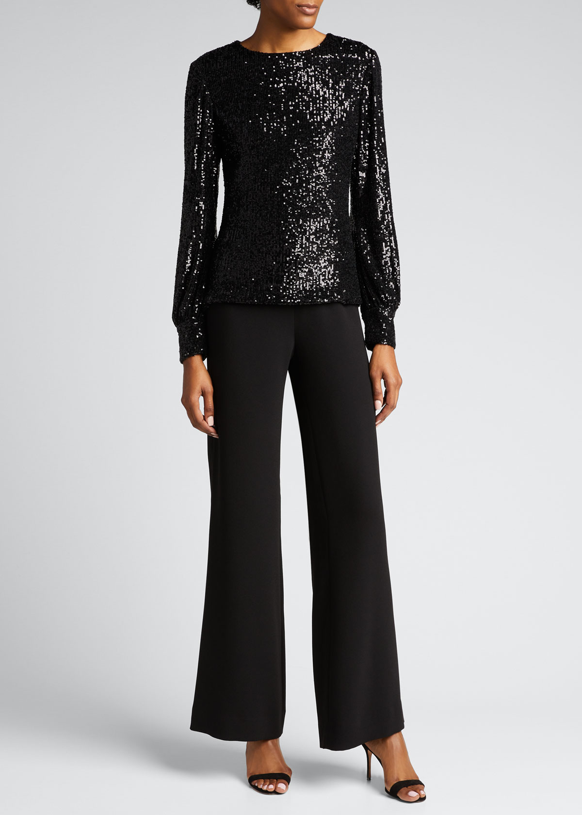 Rickie Freeman For Teri Jon Tops SEQUIN PUFF-SLEEVE TOP