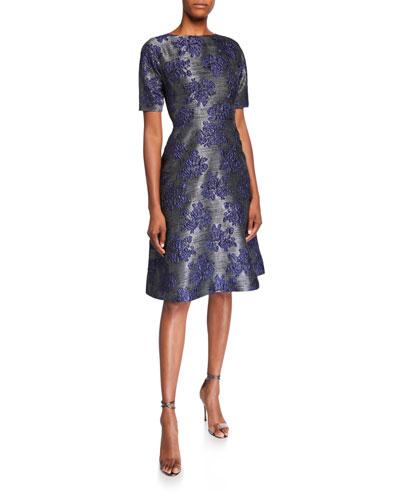 Jacquard Dolman-Sleeve Fit-&-Flare Dress