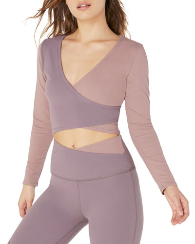 Graceland Colorblock Cropped Wrap Top