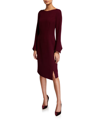 Long Sleeve Double Faced Wool Sheath Dress w/ Pearlescent Trim