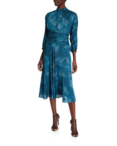 Stained Glass Burnout Mock-Neck 3/4-Sleeve Draped Midi Dress
