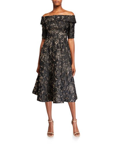 Textured Jacquard Off-the-Shoulder Elbow-Sleeve Fit-&-Flare Dress