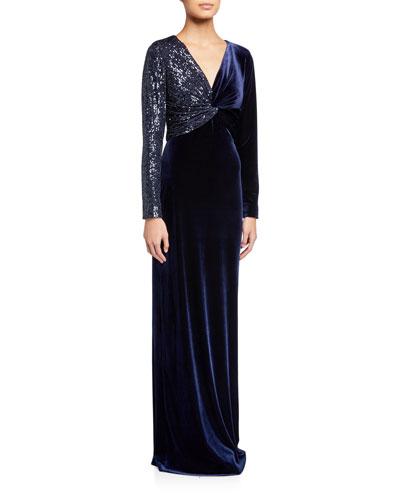 Sequin Embellished V-Neck Long-Sleeve Velvet Column Gown
