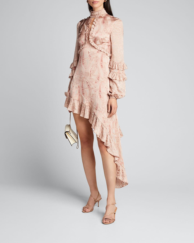 Alexis Dresses LIORA ASYMMETRIC PAISLEY RUFFLE DRESS