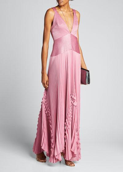 Bellona Pleated Ruffle Long Dress