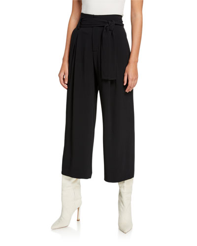 Cropped Wide-Leg Tie-Waist Pant