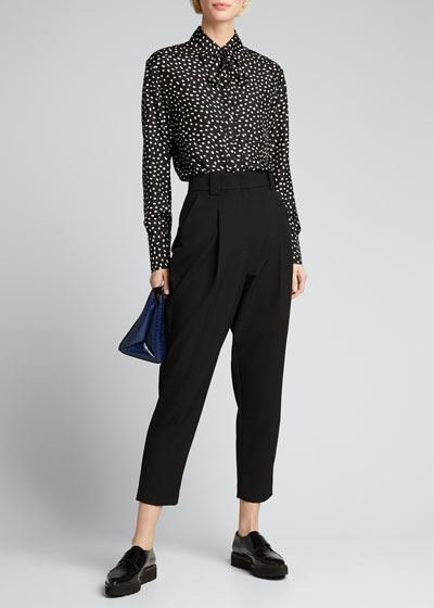 Dot Print Tie-Neck Button-Down Blouse