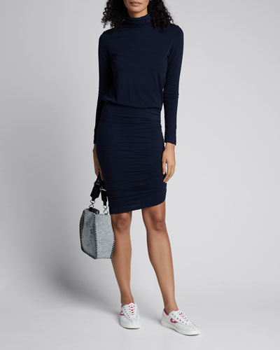 Turtleneck Long-Sleeve Blouson Dress