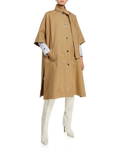 Button-Front Tie-Neck Cotton Rain Coat