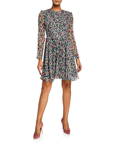 Printed Crewneck Long-Sleeve Layered Silk Dress