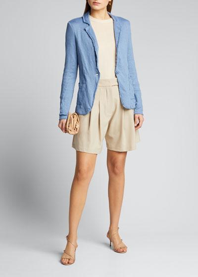 Stretch Linen One-Button Raw-Edge Jacket