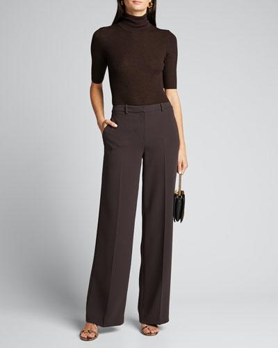 Leenda Slim Regal Wool Elbow-Sleeve Turtleneck Sweater