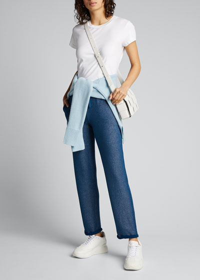 Metallic French-Terry Pull-On Crop Pants