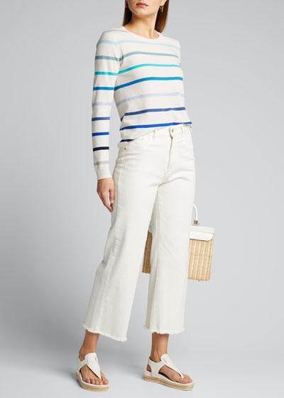 Ombre Stripe Crewneck Cashmere Sweater