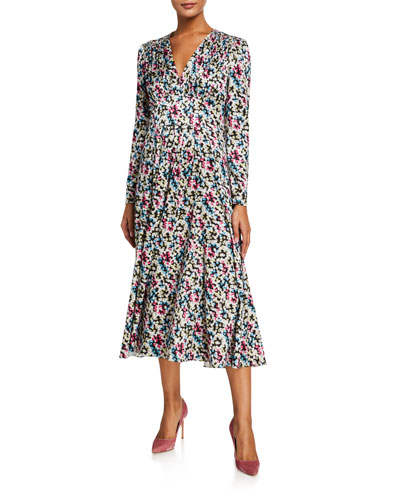 Printed Satin Jacquard V-Neck Long-Sleeve Midi Dress