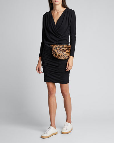 Surplice Long-Sleeve Ruched Jersey Dress