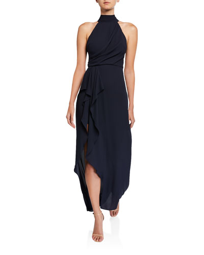 Mock-Neck Halter Gown with Draped Front Detail