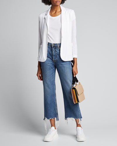 Stretch Linen One-Button Blazer