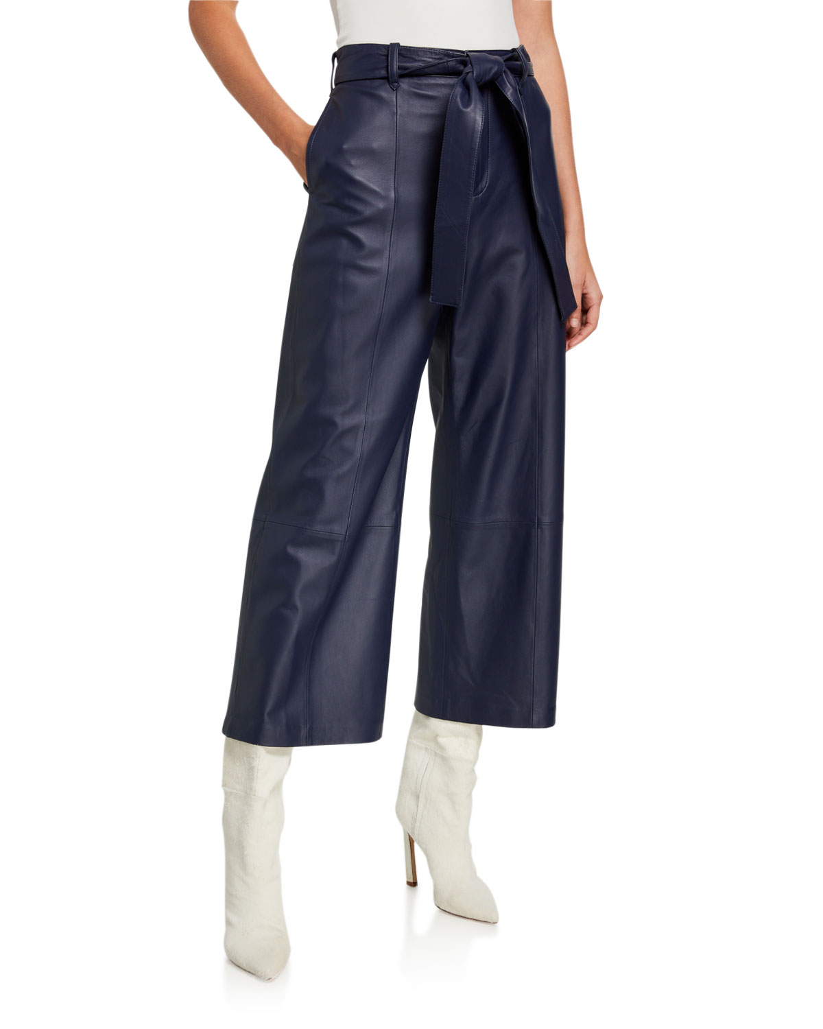 Jason Wu Pants WIDE-LEG LAMBSKIN LEATHER CROP PANTS