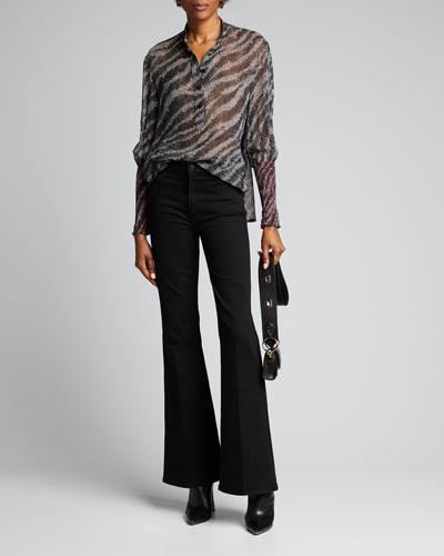 Maris Zebra Silk Popover Blouse