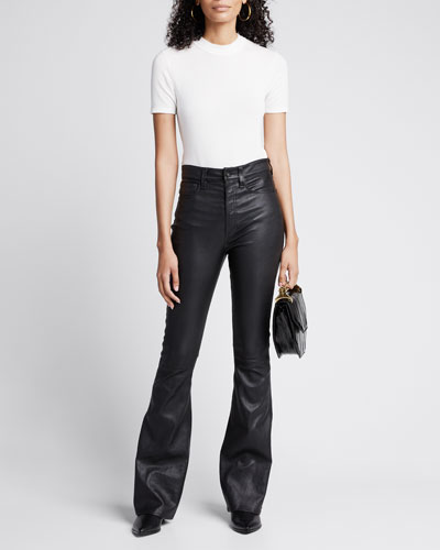 Jane Super High-Rise Flare-Leg Leather Pants