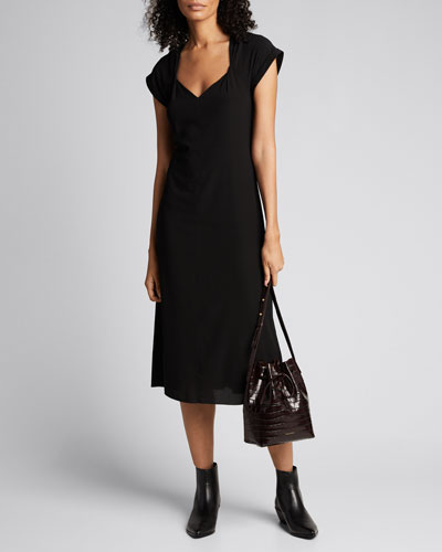 Danise Gathered Short-Sleeve Midi Dress