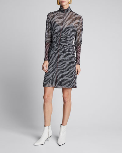 Maris Ruched Long-Sleeve Zebra-Print Mini Dress