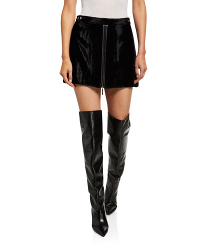 Marisol Velvet Zip-Front Mini Skirt